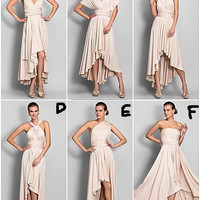 Short Dresses Tea Length Bridesmaid dresses Convertible Bridesmaid Dress Chiffon Simple  Prom dresses Party Evening Gowns Custom Made