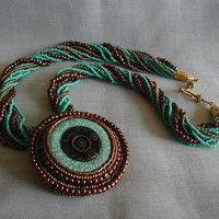 Turquiose and Copper Bead Embroidered Donut Brooch Necklace