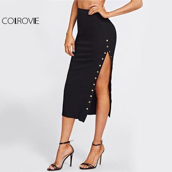 COLROVIE Studs High Slit Sexy Pencil Skirt Women Black Elegant Empire Slim OL Midi Skirts 2017 Autumn Fashion Work Long Skirt