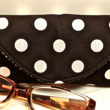 Cyber Monday STOCKING STUFFER Black White Polka Dot Fabric Reading Glasses Case with Magnetic Closure