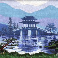 Original Oil on Canvas, Japanese landscape, Blue and Green (unframed) - by Savousepate