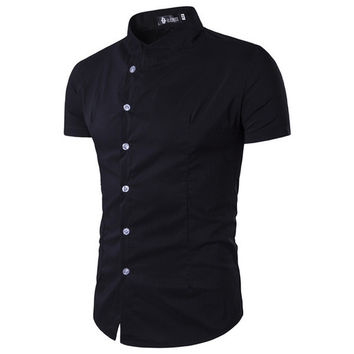 Stand Collar Single Breasted Solid Men Shirts
