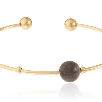 Goldtone Semi-Precious Ball Ended Arm Cuff with Centered Simulated Pearl (Mystic Black)