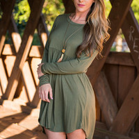 Classically Romantic Dress, Olive