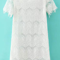 White Short Sleeve Lace Mini Dress