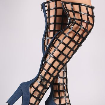 Denim Caged Chunky Heeled Over-The-Knee Boots