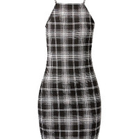 Black Check Strappy Mini Dress