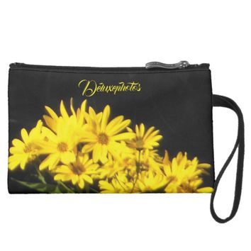 Breath Taking Daisies Suede Wristlet