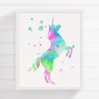 Watercolor Unicorn Painting, Unicorn Art Print, Unicorn Poster, Girls Room Decor, Baby Girl Nursery, Kids Room Wall Art, Nursery Wall Decor