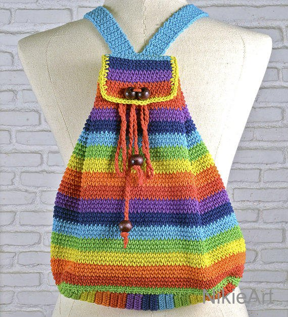 Rainbow Crochet backpack Casual woman bag from NikieArt on Etsy