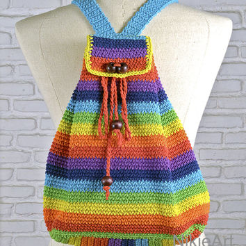 Rainbow Crochet backpack Casual woman bag 100 % cotton shoulder bag crochet bag Bright color modern crochet gifts for her  school bag