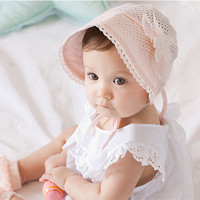 Floral Hollow Cotton Breathable Palace Hat Princess Hat for Baby