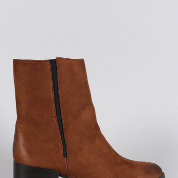 Qupid Elasticized Suede Pointy Toe Cowgirl Ankle Boots