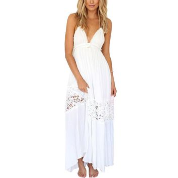 Womens Summer Sexy Deep V neck Backless Lace Strap String Halter long dress