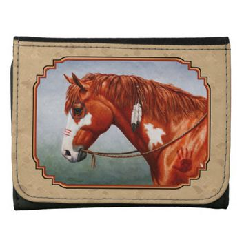 Native American War Horse Leather Wallet