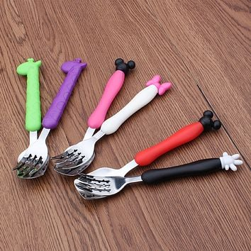 2Pcs/Set Stainless Steel Kids Fork Tableware Cartoon Cutlery Set Children Portable Camping Dinnerware