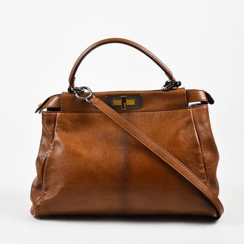 "Fendi Brown Leather Small ""Peekaboo"" Bag"