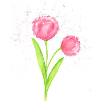Watercolor painting, flower painting, watercolor flower, tulip painting, abstract flower, watercolor tulip. original painting, pink, 8X10