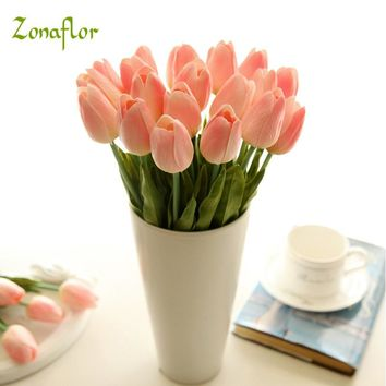 Zonaflor 31PCS/LOT PU Tulip Artificial Flowers Wedding Bouquet For Home Decoration Wedding Decorative Flowers