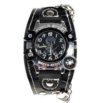 Stylish Luminous Hands Chasis Leather Wide Band Wrist Watch with Compass