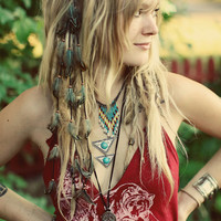 CUSTOM Cascading Leather & Feather Extension Hair by Moondial Gypsy
