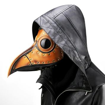 Men /Women Retro Steampunk Gold PU Leather Metal Rivet Plague Bird Beak Doctor Mask Gothic Punk Mask Halloween Cosplay Props