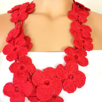 Hand Crochet Lariat Scarf Red Flower Lariat Scarf Long Necklace Long Scarf