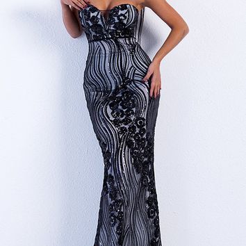 Changing The Game Black Sequin Swirl Pattern Strapless Sweetheart Neck Mermaid Maxi Dress
