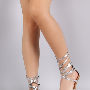 Qupid Strappy Toe Ring Flat Sandal