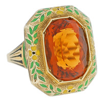 Art Deco Citrine Enamel Gold Ring