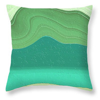 Spring Sprung decorative throw pillow soft soothing greens and turquoise blue, spring decor, cushion covers, pillow covers, scatter cushion