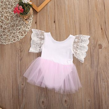 Newborn Kids Baby Girl Princess Romper Tutu Dress Skirt Lace Floral Outfits 0-3Y