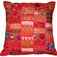 "24x24"" Red Bohemian Pillow Indian Patchwork Pillow Cushion Cover Throw Pillow Toss Pillow Vintage Pillow Sofa Pillow Decorative Pillow Cover"