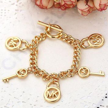 DCCK MK Michael Kors Stylish Ladies Men Letter Small Lock With Key Accessories Couple Bracelet
