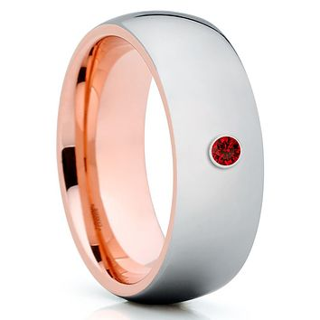 Rose Gold Tungsten Ring - Ruby Tungsten Ring - Shiny Ring - 8mm Tungsten Ring