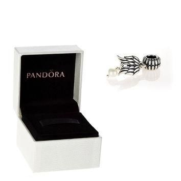 Authentic Pandora S925 Sterling Silver Guardian Angel Pearl Wings Charm Bead w/ Box Fr