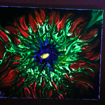 Trippy Black Light Art, Abstract Black Light Art, Spiral Black Light