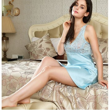 100% pure silk nightgowns women Sexy sleepwear Home dresses LACE 417afc88c