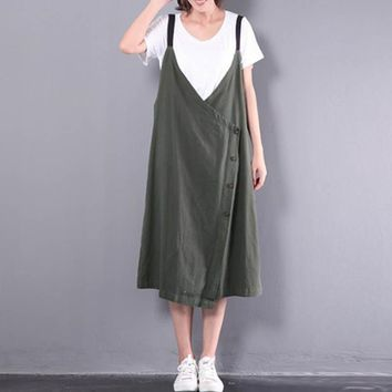 2018 Celmia Women V Neck Spaghetti Straps Buttons Split Hem Retro Cotton Linen Midi Dress Baggy Dungarees Vestido Plus Size