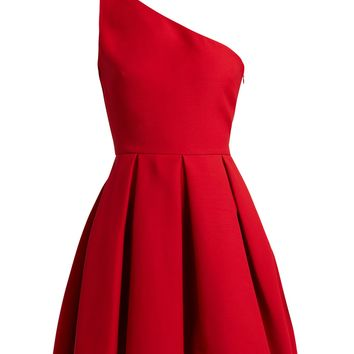 One-shoulder wool-blend skater dress | Valentino | MATCHESFASHION.COM US