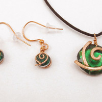 Kokiri Forest Emerald Necklace and Earrings Set