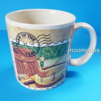 Sports Coffee Mug Stamp Man of the Year Fish Angler Fishing Multicolor Cup 10 oz
