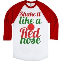 Shake it like Rudolph the red nosed reindeer-White/Red T-Shirt