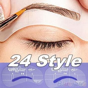24pcs style eyebrow Pencil Model Eye Brushes eyebrows Brow Painted Template Stencil DIY Makeup styling Tools Free Shipping