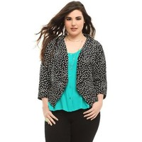 Torrid Plus Size Black & White Polka Dot Open-Front Jacket
