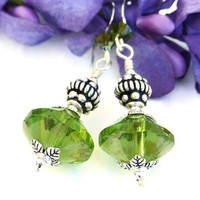 Apple Green Czech Rivoli Handmade Earrings Sterling Swarovski Jewelry