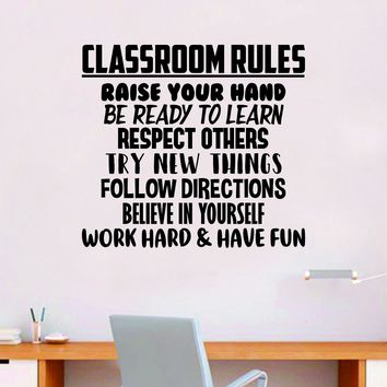 Classroom Rules Quote Decal Sticker Wall Vinyl Decor Art Room Teacher Class Students Education Science Kids