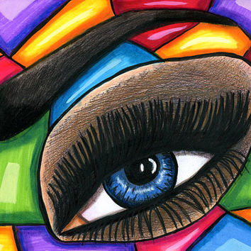 original Abstract womans blue eye Art drawing markers colored pencil surrealism stained glass style artwork