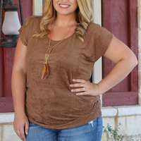 Feeling The Suede Top With Ruched Sides ~ Mocha ~ Sizes 12-18