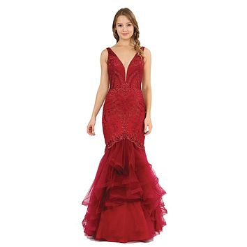 V-Neck Long Mermaid Tiered Prom Dress Burgundy